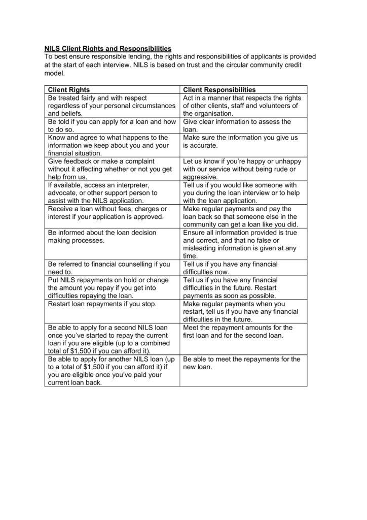 Image of the NILS rights and responsibilities form