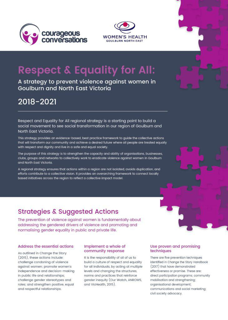 The front cover of the Respect and Equality for All strategy summary