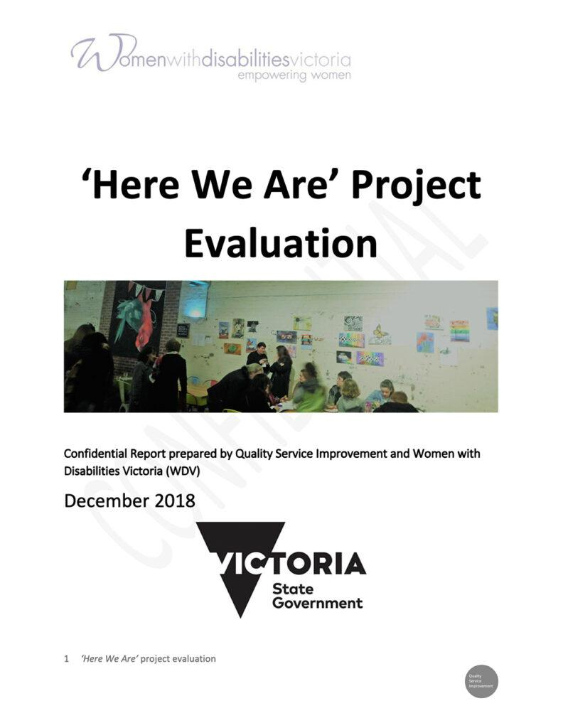The front cover of the Here We Are project evaluation