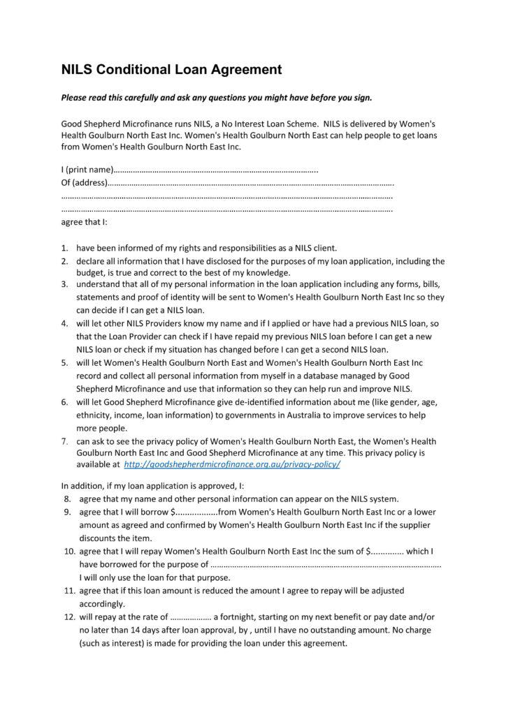 Image of the NILS Conditional Loan Agreement form