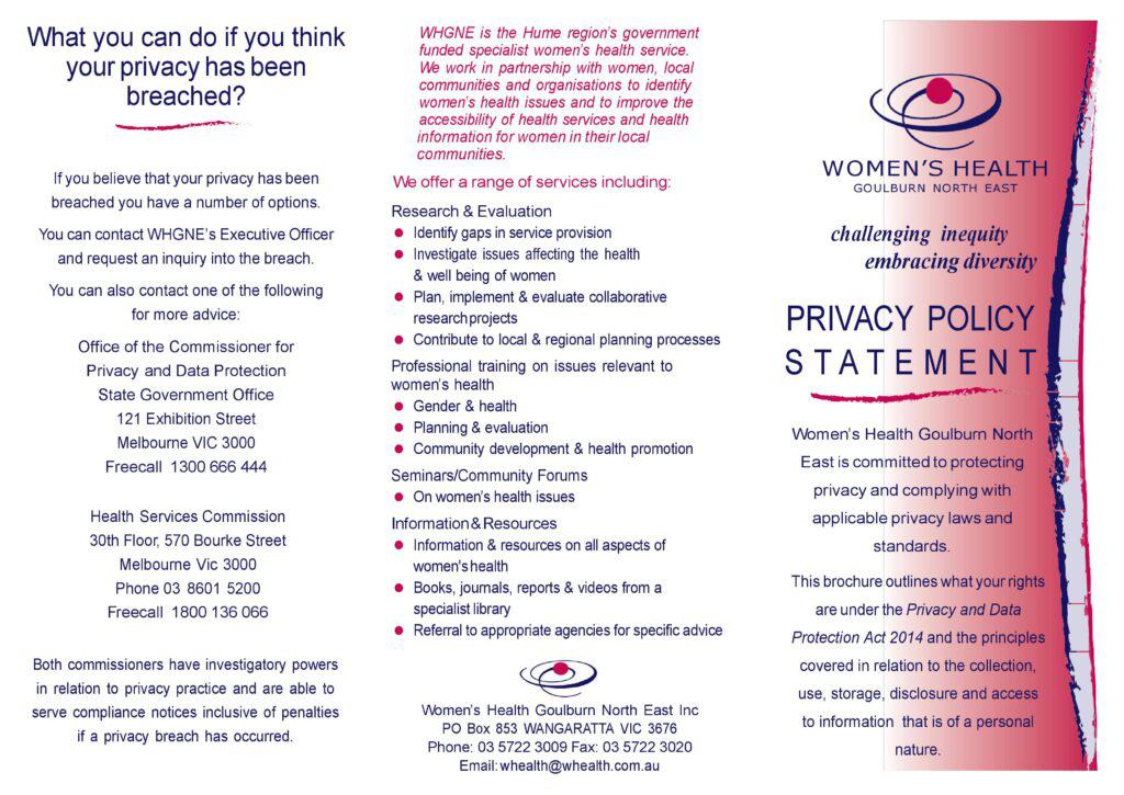 Image of the NILS privacy policy brochure