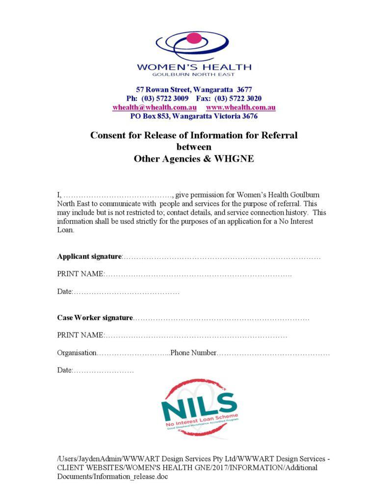 Image of the NILS referral release form