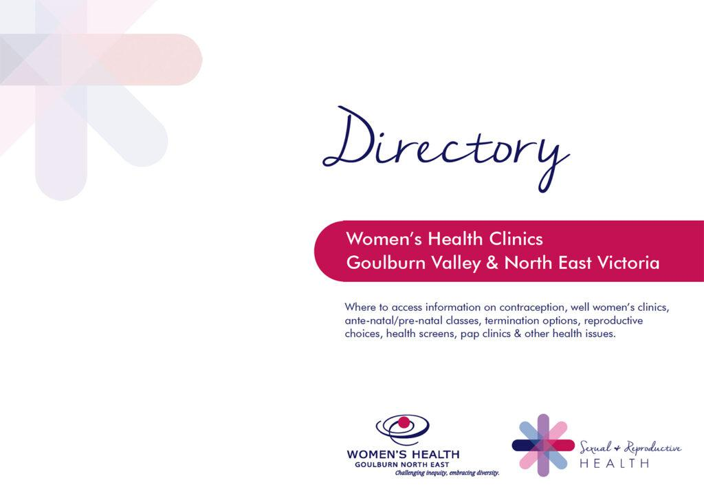 The front cover of a directory of Women's Health Clinics in north-east Victoria and the Goulburn Valley