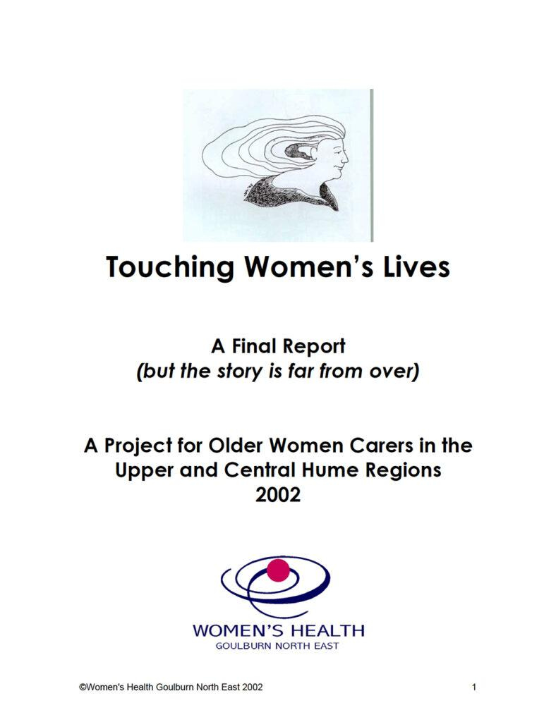 The front cover of the Touching Women's Lives report