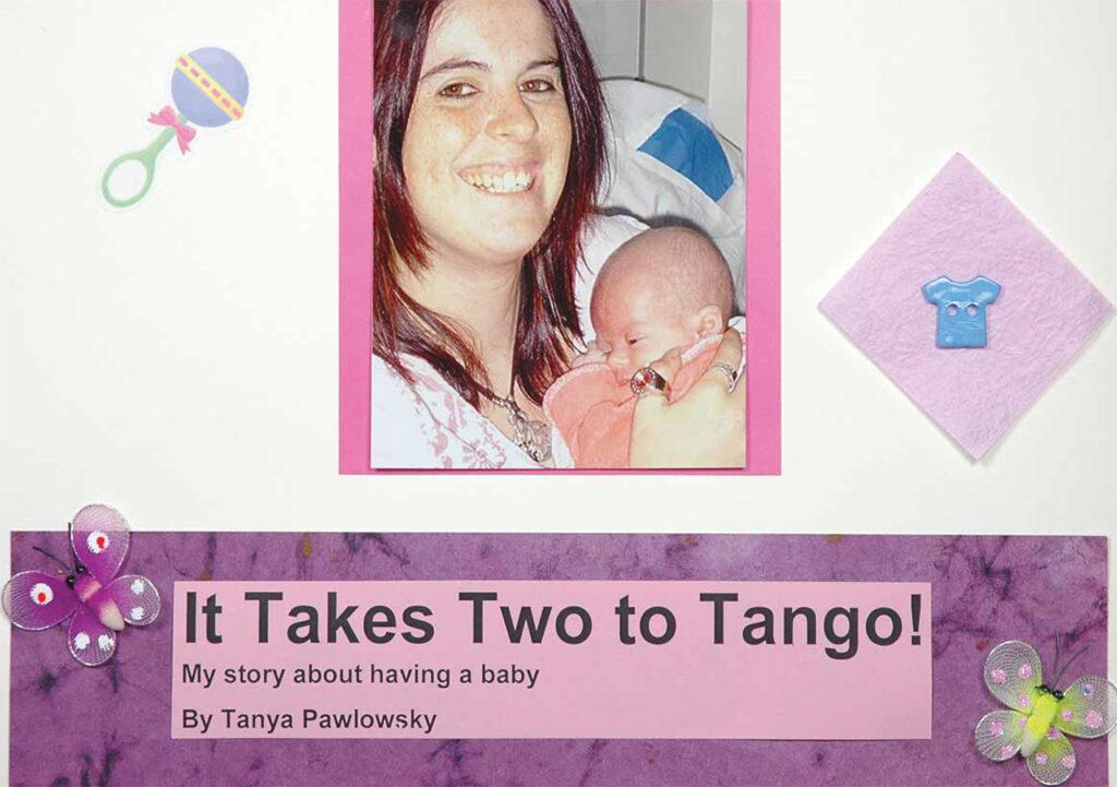 The front cover of It Takes Two to Tango - a personal story about childbirth